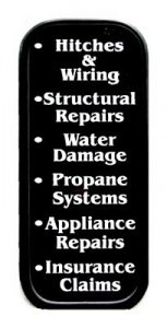 Structural repairs, water damage, propane systems, appliance repairs, insurance claims